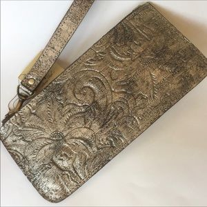NWT Patricia Nash St. Croce Embossed Gold Leather Wristlet